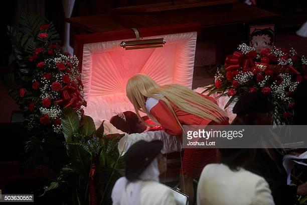 LaTisha Jones kisses her mother Bettie Jones during her funeral at New Mount Pilgrim Missionary Baptist Church January 6 2016 in Chicago Illinois...