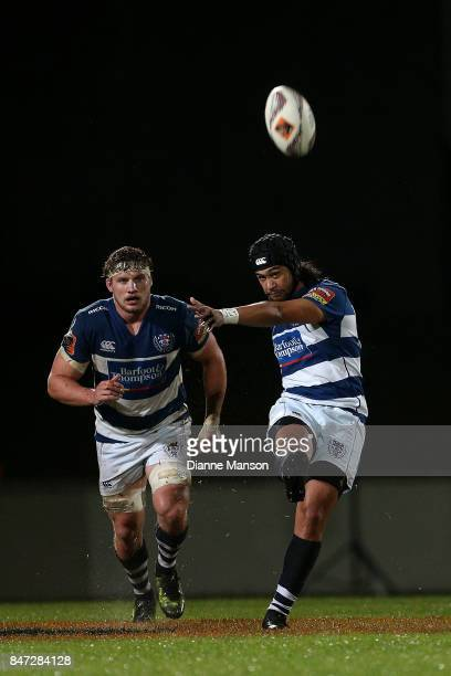Latiume Fosita of Auckland kicks the ball during the round five Mitre 10 match between Southland and Auckland at Rugby Park Stadium on September 15...