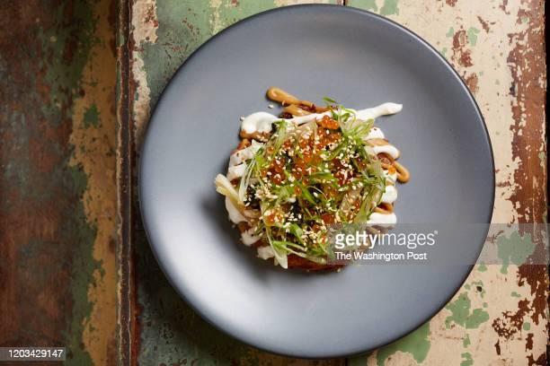 Latke Okonomiyaki - Sour Cream, Sweet & Sour Apples, Horseradish Sunchokes, Scallion, Chili Sauce and Benne at The Shack in Staunton, VA on February...