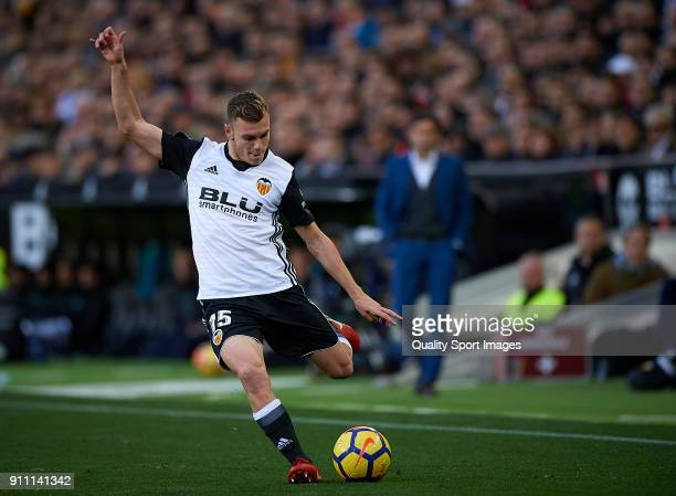 Lato of Valencia in action during the La Liga match between Valencia and Real Madrid at Mestalla stadium on January 27 2018 in Valencia Spain