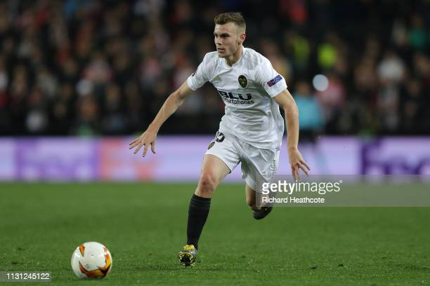Lato of Valencia in action during the UEFA Europa League Round of 32 Second Leg match between Valencia v Celtic at Estadio Mestalla on February 21...