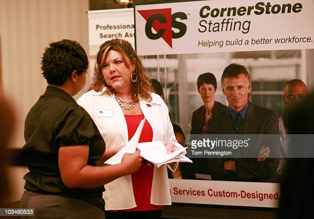 Latonya Bodley talks with D'Ann Anderson Assistant Vice President of Operations at CornerStone Staffing while attending the Choice Career Fair on...