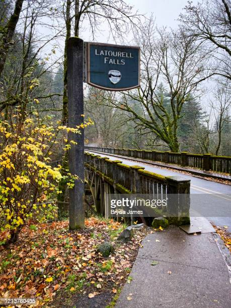 latourell falls state park sign - brycia james stock pictures, royalty-free photos & images
