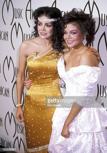 Latoya Jackson and Janet Jackson during 12th Annual American Music Awards at Shrine Auditorium in Los Angeles California United States