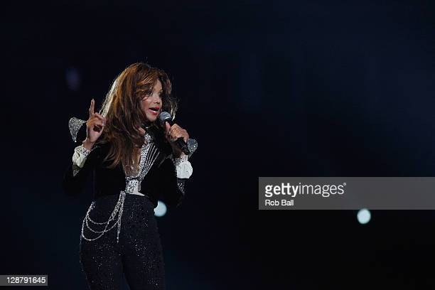 Latoya Jackson performs at Michael Forever Tribute Concert at Millennium Stadium on October 8 2011 in Cardiff Wales