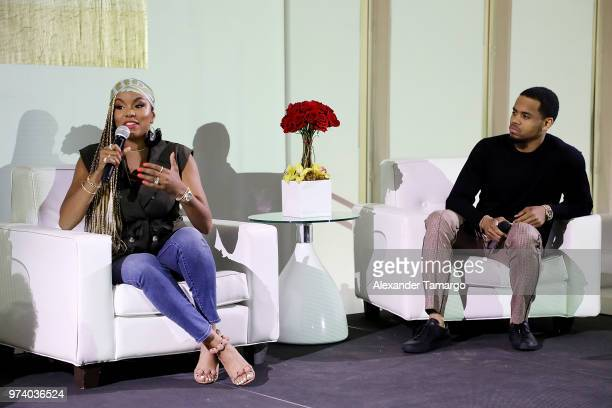 LaToya Luckett and Tristan 'Mack' Wilds speak on stage at the Cadillac Welcome Luncheon At ABFF Black Hollywood Now at The Temple House on June 13...