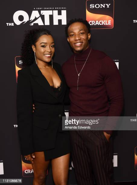 LaToya Tonodeo and Arlen Escarpeta arrive at Sony Crackle's 'The Oath' Season 2 exclusive screening event at Paloma on February 20 2019 in Los...