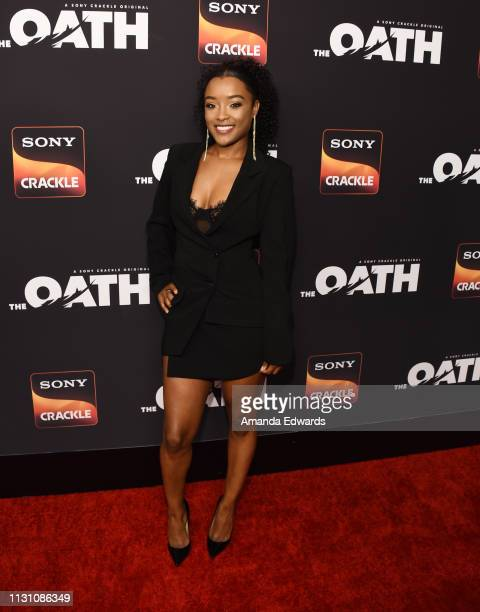 LaToya Tonodeo arrives at Sony Crackle's 'The Oath' Season 2 exclusive screening event at Paloma on February 20 2019 in Los Angeles California
