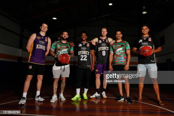 Latrell Mitchell, Adam Reynolds and Cody Walker of the Rabbitohs pose with Casper Ware, Brad Newley and Shaun Bruce of the Kings during a joint media...