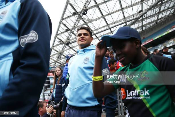 Latrell Mitchell arrives during the New South Wales Blues State of Origin Team Announcement at ANZ Stadium on July 2 2018 in Sydney Australia