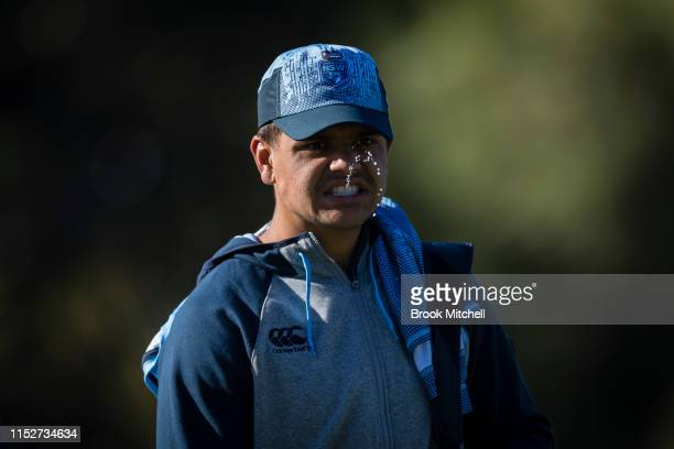 Latrell Mitchell arrives for a New South Wales Blues State of Origin training session at Kippax Lake on May 31 2019 in Sydney Australia