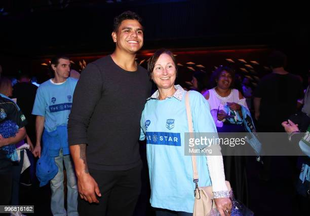Latrell Mitchell interacts with fans during a New South Wales Blues public reception after winning the 2018 State of Origin series at The Star on...