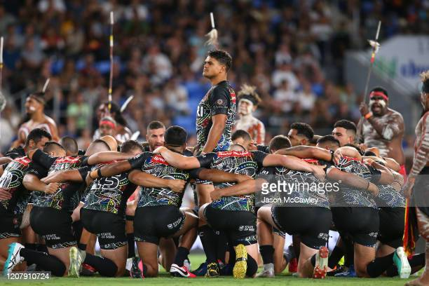 Latrell Mitchell of the Indigenous All-Stars performs an Indigenous dance during the NRL match between the Indigenous All-Stars and the New Zealand...