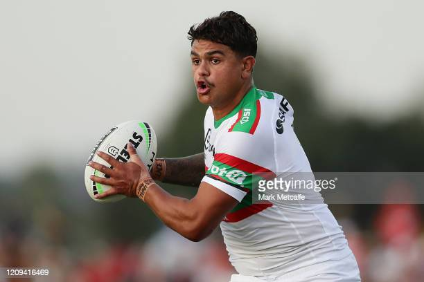 Latrell Mitchell of the Rabbitohs in action during the Charity Shield NRL Trial match between the St George Illawarra Dragons and the South Sydney...