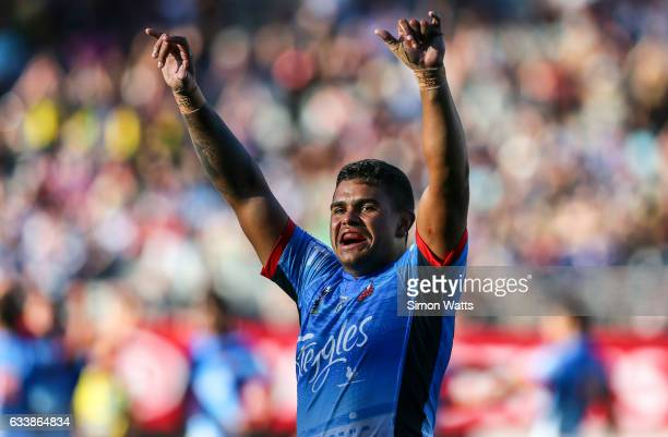 Latrell Mitchell of the Roosters celebrates winning the 2017 Auckland Nines final between The Sydney Roosters and Penrith Panthers at Eden Park on...