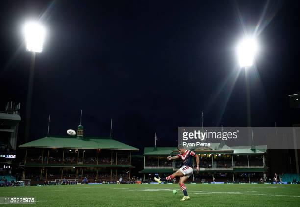 Latrell Mitchell of the Roosters kicks a conversion during the round 14 NRL match between the Sydney Roosters and the Canterbury Bulldogs at the...