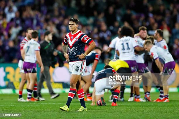Latrell Mitchell of the Roosters looks on dejected at Adelaide Oval on June 28 2019 in Adelaide Australia