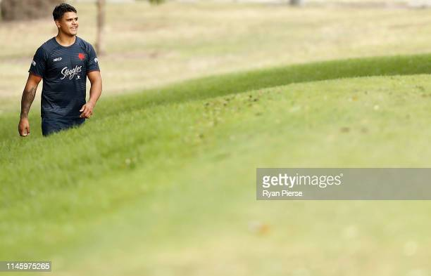 Latrell Mitchell of the Roosters looks on during a Sydney Roosters NRL training session at Kippax Lake on April 30 2019 in Sydney Australia