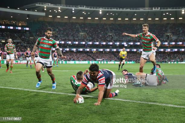 Latrell Mitchell of the Roosters scores a try during the NRL Qualifying Final match between the Sydney Roosters and the South Sydney Rabbitohs at...