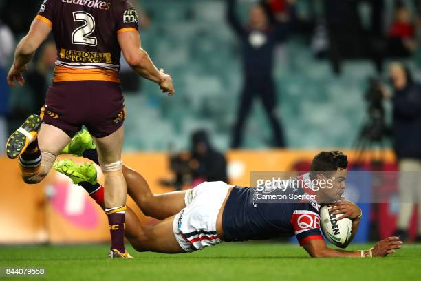 Latrell Mitchell of the Roosters scores a try during the NRL Qualifying Final match between the Sydney Roosters and the Brisbane Broncos at Allianz...