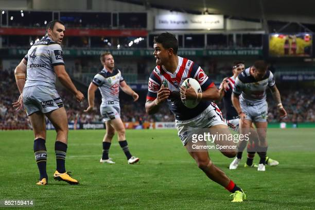 Latrell Mitchell of the Roosters scores a try during the NRL Preliminary Final match between the Sydney Roosters and the North Queensland Cowboys at...