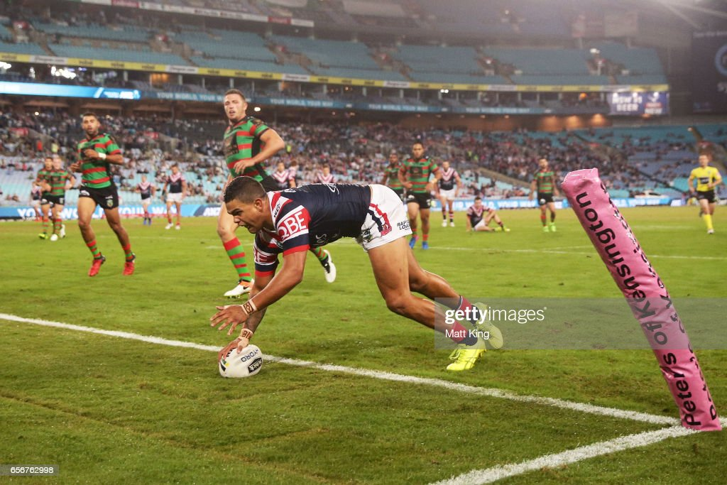 Latrell Mitchell of the Roosters scores a try during the round four NRL match between the South Sydney Rabbitohs and the Sydney Roosters at ANZ Stadium on March 23, 2017 in Sydney, Australia.