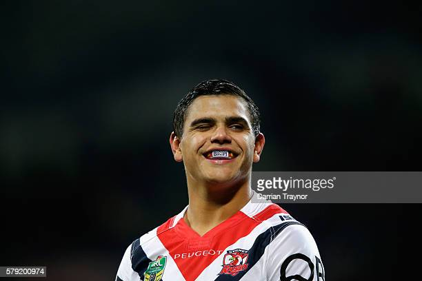 Latrell Mitchell of the Roosters winks to crowd during the round 20 NRL match between the Melbourne Storm and the Sydney Roosters at AAMI Park on...
