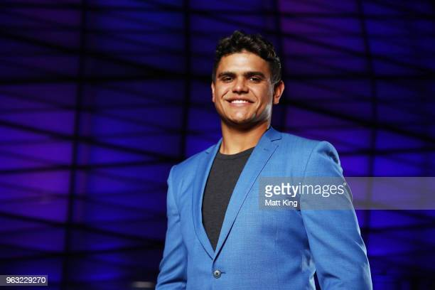 Latrell Mitchell poses during the New South Wales Blues State of Origin Team Announcement at The Star on May 28 2018 in Sydney Australia