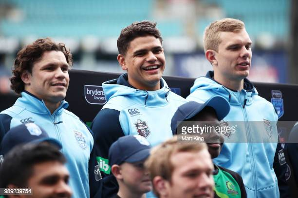 Latrell Mitchell smiles during the New South Wales Blues State of Origin Team Announcement at ANZ Stadium on July 2 2018 in Sydney Australia