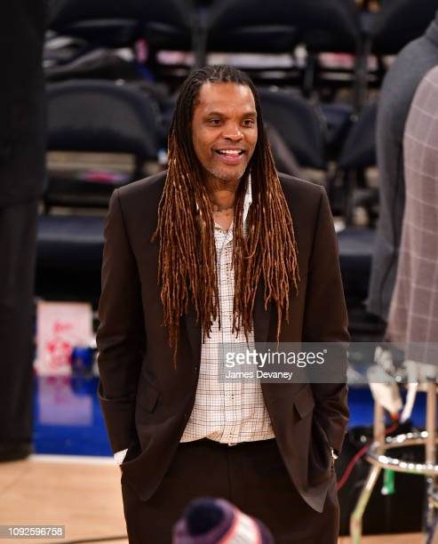 Latrell Sprewell attends Boston Celtics v New York Knicks game at Madison Square Garden on February 1 2019 in New York City