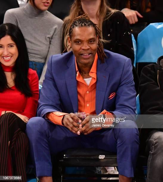 Latrell Sprewell attends New York Knicks vs Milwaukee Bucks game at Madison Square Garden on December 1 2018 in New York City