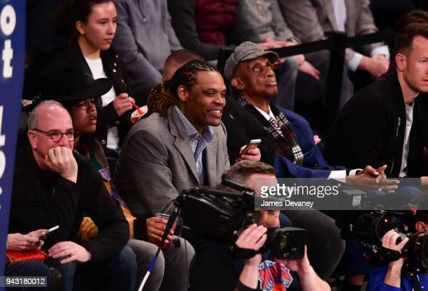 Latrell Sprewell attends New York Knicks Vs Milwaukee Bucks game at Madison Square Garden on April 7 2018 in New York City