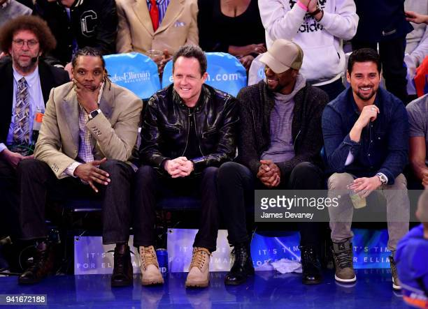 Latrell Sprewell Dean Winters Leon Robinson and JR Ramirez attend New York Knicks Vs Orlando Magic game at Madison Square Garden on April 3 2018 in...
