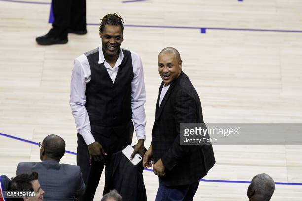Latrell Sprewell former player during the NBA game against Washington Wizards and New York Knicks at The O2 Arena on January 17 2019 in London...