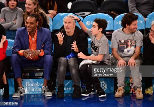 Latrell Sprewell Jon Stewart Nathan Stewart and Jake Hoffman attend New York Knicks vs Milwaukee Bucks game at Madison Square Garden on December 1...