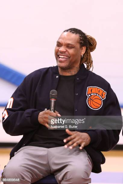 Latrell Sprewell of the 1999 New York Knicks team smiles during an interview on April 2 2017 at Madison Square Garden Training Center in Greenburgh...