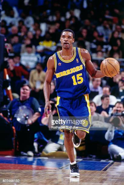Latrell Sprewell of the Golden State Warriors dribbles during the 1997 AllStar Game on February 9 1997 at Gund Arena in Cleveland Ohio NOTE TO USER...