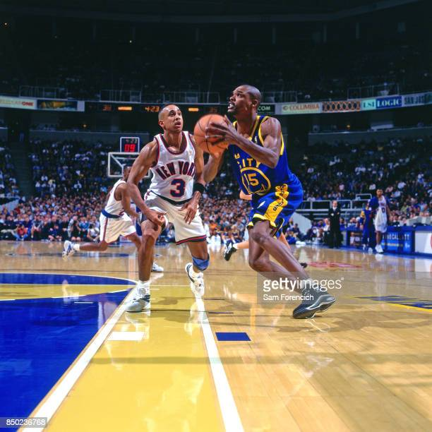 Latrell Sprewell of the Golden State Warriors drives circa 1997 at the Arena in Oakland in Oakland California NOTE TO USER User expressly...