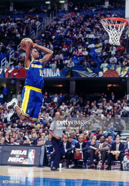Latrell Sprewell of the Golden State Warriors dunks during the 1997 AllStar Game on February 9 1997 at Gund Arena in Cleveland Ohio NOTE TO USER User...