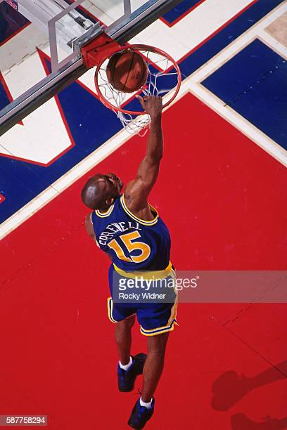 Latrell Sprewell of the Golden State Warriors goes to the basket against the Sacramento Kings circa 1994 at Arco Arena in Sacramento California NOTE...