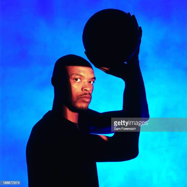 Latrell Sprewell of the Golden State Warriors poses for a portrait circa 1995 at the OaklandAlameda County Coliseum Arena in Oakland California NOTE...