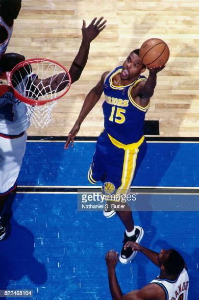 Latrell Sprewell of the Golden State Warriors shoots during the 1997 AllStar Game on February 9 1997 at Gund Arena in Cleveland Ohio NOTE TO USER...