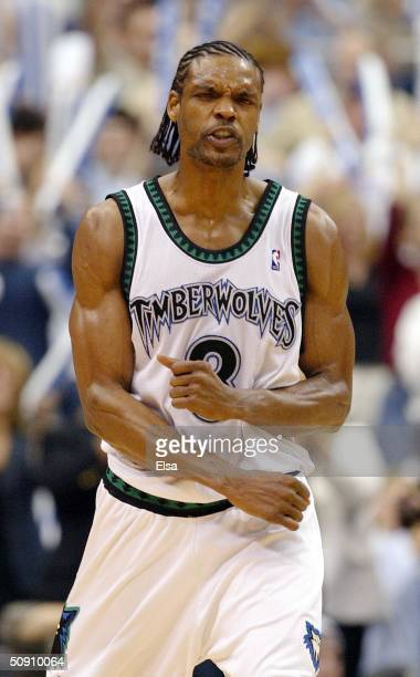 Latrell Sprewell of the Minnesota Timberwolves celebrates in Game Five of the Western Conference Finals against the Los Angeles Lakers during the...