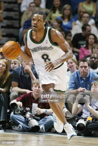 Latrell Sprewell of the Minnesota Timberwolves drives against the Seattle Sonics during the game at Target Center on April 17 2005 in Minneapolis...