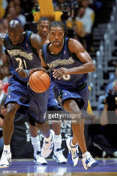 Latrell Sprewell of the Minnesota Timberwolves drives the ball up court in Game Three of the Western Conference Finals against the Los Angeles Lakers...
