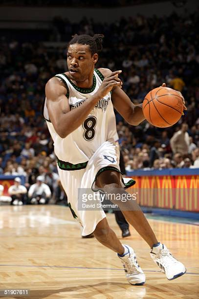 Latrell Sprewell of the Minnesota Timberwolves drives to the basket against the Memphis Grizzlies on January 1 2005 at the Target Center in...