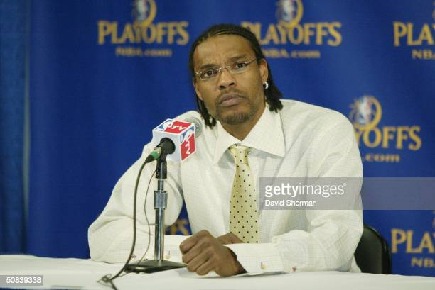 Latrell Sprewell of the Minnesota Timberwolves gives a postgame interview after their win over the Sacramento Kings in Game five of the Western...