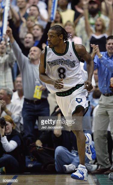 Latrell Sprewell of the Minnesota Timberwolves runs in Game five of the Western Conference Finals against the Los Angeles Lakers during the 2004 NBA...