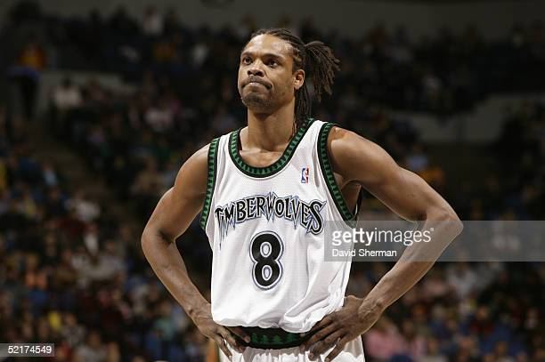 Latrell Sprewell of the Minnesota Timberwolves stands on the court during the game with the Atlanta Hawks on January 26 2005 at the Target Center in...