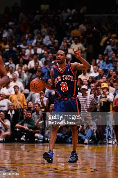 Latrell Sprewell of the New York Knicks calls a play during the game against the Indiana Pacers in Game Two of the Eastern Conference Finals on May...